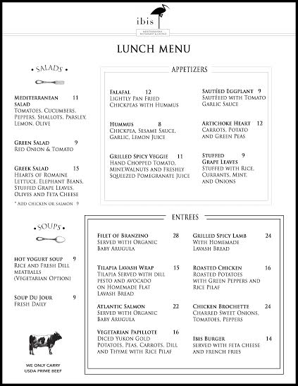 Ibis Lunch Menu